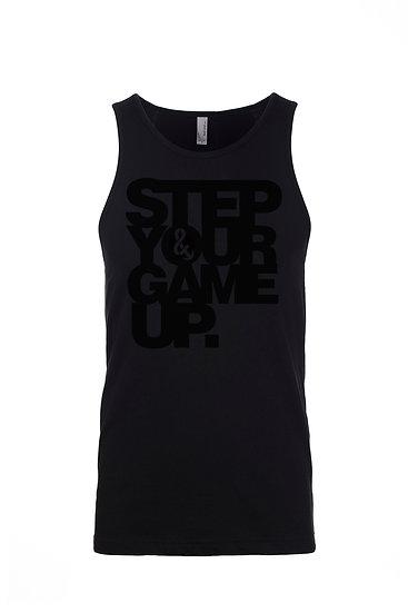 Step Your Game Up Men's Tank Black on Black