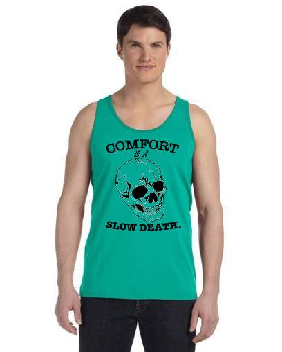 Comfort is a Slow Death Mens Tan Teal