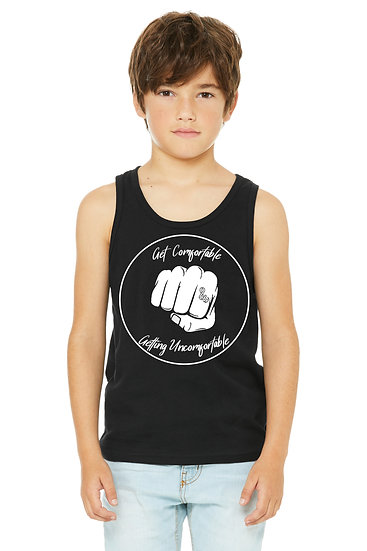 Get Comfortable Getting Uncomfortable Unisex Youth Tank Black