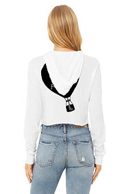 There'sNowhere To Go But Up From Here Ladies Crop Longsleeve Hooded Tee