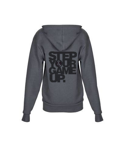 Step Your Game Up Youth Zip up Hoody Heavy Metal
