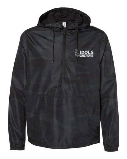 Unisex Lightweight Quarter-Zip Windbreaker Pullover Jacket Black Camo