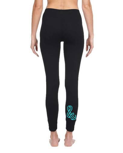 Ladies Spandex Leggings Teal Calf Logo