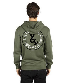 Live Outside The Realm Of Possibility Unisex Fleece Zip Up Sweatshirt Army