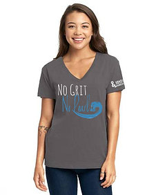 No Grit No Pearl Ladies Relaxed V-neck Tee Heavy Metal
