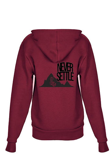 Never Settle Youth Zip up Hoody Maroon