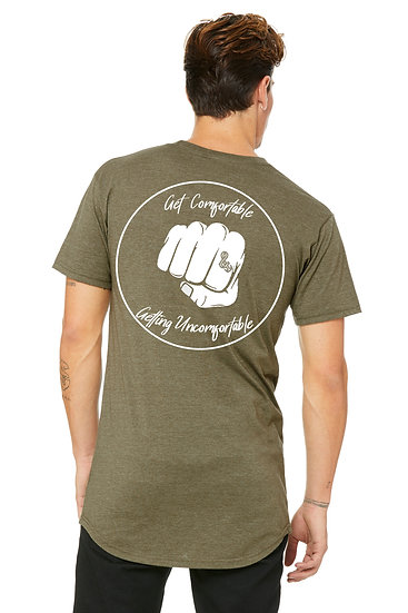 Get Comfortable Getting Uncomfortable Long Body Tee Heather Olive