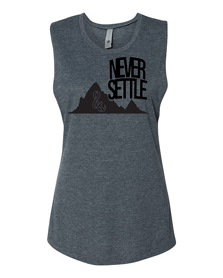 Never Settle Ladies Muscle Tank Charcoal