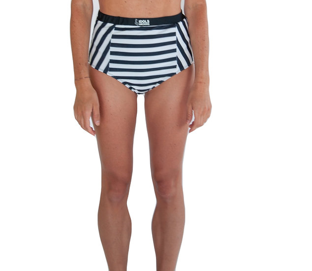 Refuse to Sink Women's High Waisted Bikini Bottom- Striped