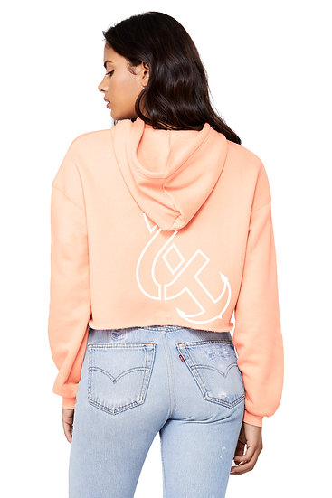 "The ""OG"" Women's Fleece Crop Hoodie Peach"
