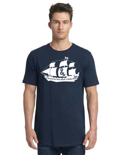 A Smooth Sea Men's Long Body Tee Navy