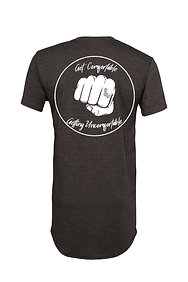 Get Comfortable Getting Uncomfortable Long Body Tee Dark Heather Gray