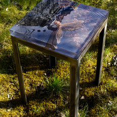 Handmade table from raw iron with interchangeable signed and numbered art photo plate in 30 mm thick acrylic (38x38 cm)