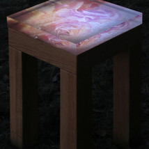 Compact oak wood table with interchangeable signed and numbered art photo table top in 40 mm thick acrylic (32x32 cm), with possibility of underlight (with dimmer).