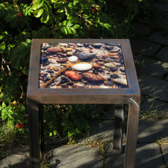 Handmade table made from raw iron with interchangeable table top with signed and numbered art photo on 4mm tempered glass (24x24 cm) - motif series also as set table, 3 pcs.
