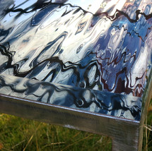 """Hand forged table in raw iron with interchangeable signed and numbered art photo table top in 30 mm thick acrylic (46x46 cm) - """"A Piece of Water""""-table 2"""