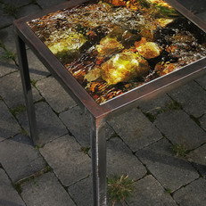Handmade table made from raw iron with interchangeable table top with signed and numbered art photo on 4mm tempered glass (40x40 cm)- motif series also as set table, 3 pcs.