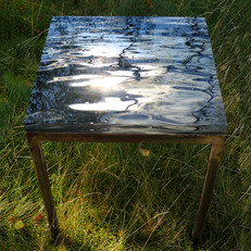 """Hand forged table in raw iron with interchangeable signed and numbered art photo table top in 30 mm thick acrylic (46x46 cm) - """"A Piece of Water""""-table 1"""