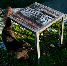 Handmade table made from raw iron with interchangeable table top with signed and numbered art photo on 4mm tempered glass (40x40 cm)