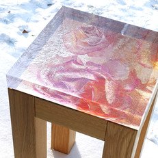 Compact oak table with interchangeable signed and numbered art photo table top in 40 mm thick acrylic (32x32 cm), with possibility of underlight (with dimmer).