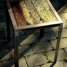 Handmade table made from raw iron with interchangeable table top with signed and numbered art photo on 4mm tempered glass (32x32) cm)