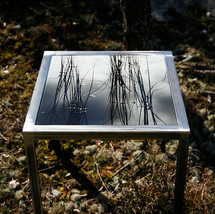 Hand forged table made from raw iron with interchangeable table top with signed and numbered art photo on 4mm tempered glass (40x40 cm) - motif series also as set table, 3 pcs.