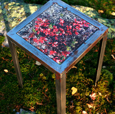 Handmade table made from raw iron with interchangeable table top with signed and numbered art photo on 4mm tempered glass (24x24 cm)