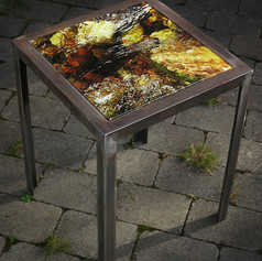 Handmade table made from raw iron with interchangeable table top with signed and numbered art photo on 4mm tempered glass (32x32 cm) - motif series also as set table, 3 pcs.