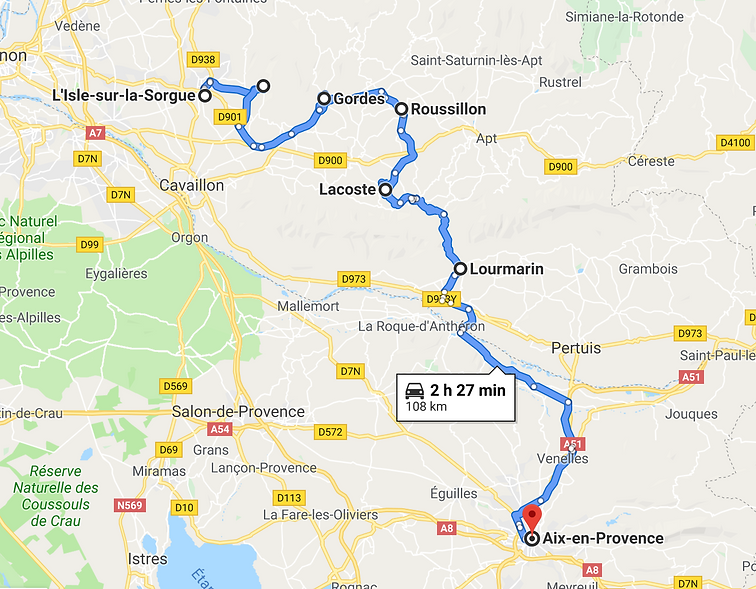 Map Luberon itinerary
