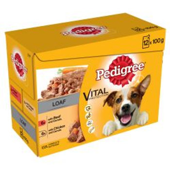Pedigree Pouch Mixed Chunks in Loaf 12 Pack