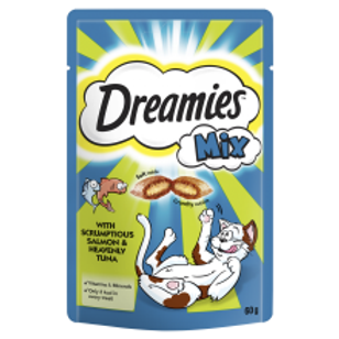 Dreamies Mix Cat Treats with Scrumptious Salmon & Heavenly Tuna