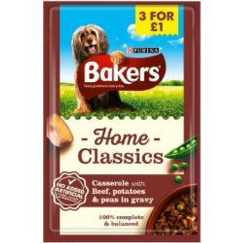 Bakers Pouch Home Classic Beef 3/£1