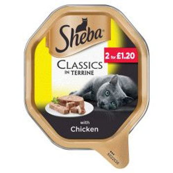 Sheba Classics Cat Tray with Chicken in Terrine 85g PM 2 for £1.20
