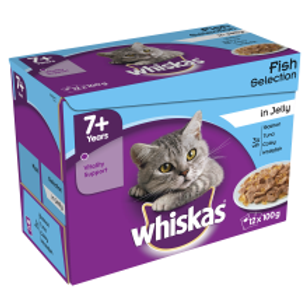 Whiskas 7+ Cat Pouches Fish Selection in Jelly 12 PacK