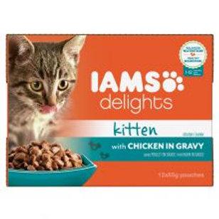 Iams Delights Kitten Food With Chicken In Gravy 12x85g