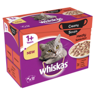 Whiskas 1+ Soup Meat 12 Pack