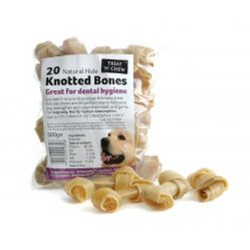 """Treat 'N' Chew Natural Hide Knotted Bones 4-4.5"""""""