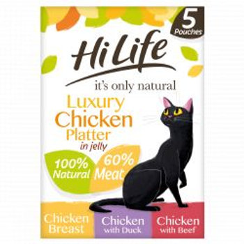HiLife It's Only Natural Luxury Chicken Platter In Jelly 5 x 70g Multipack