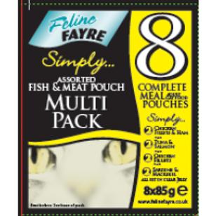 Feline Fayre Black Pouch Mix Multipack 8 Pack
