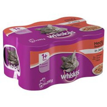 Whiskas 1+ Cat Can Meat Selection in Jelly 6 x 390g