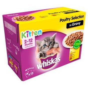 Whiskas Pouch Kitten Poultry Chunks In Gravy 12 Pack