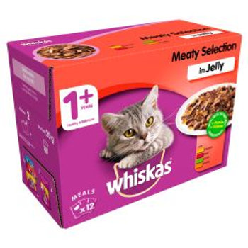 Whiskas Pouch in Jelly Meat Selection 12 Pack