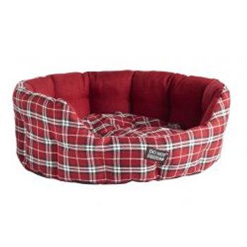 Do Not Disturb Oval Bed Red Tartan