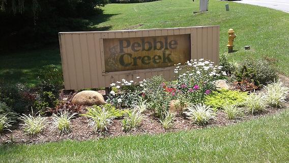 Pebble Creek welcome sign