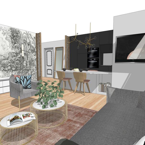 Réaménagement salon/cuisine/entrée