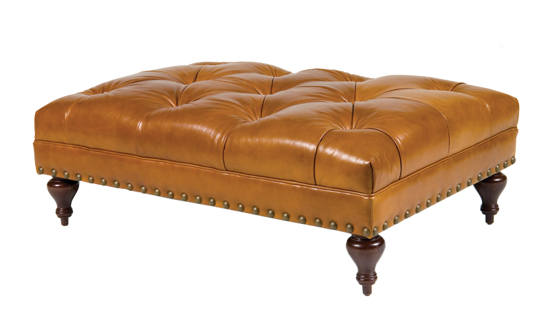 Rectangle Tufted Leather Ottoman