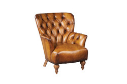 Leather Tuft High Back Chair