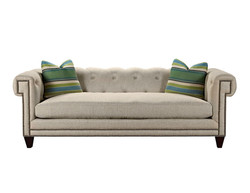 Greek Key Tufted Sofa