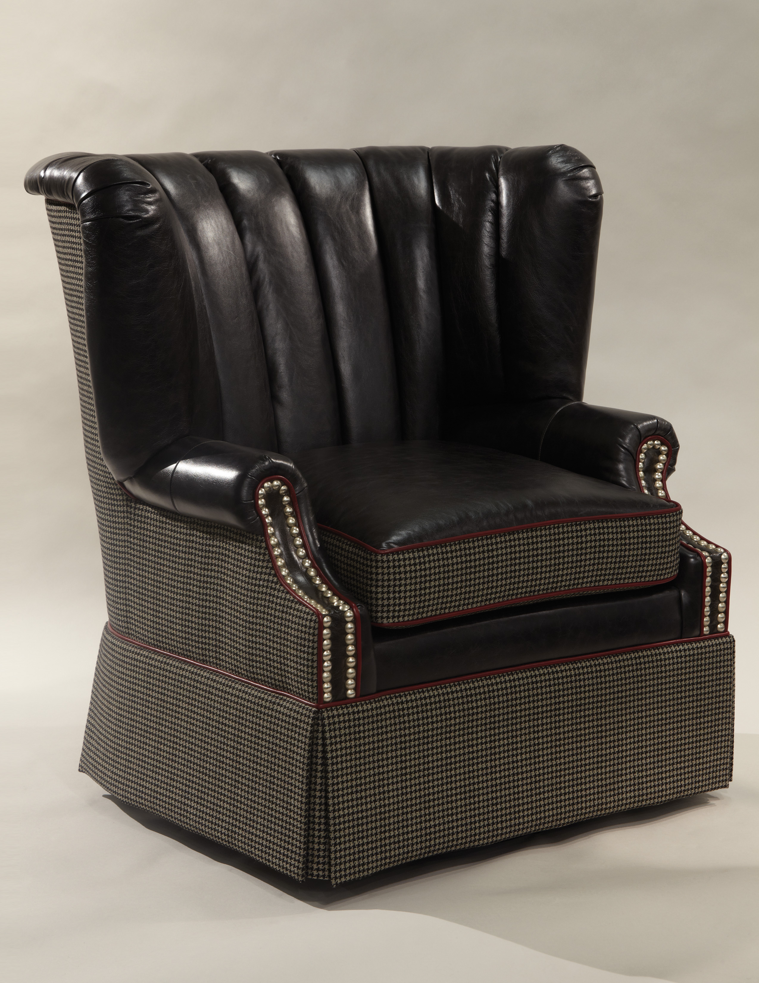 Swivel Leather & Fabric Mixed