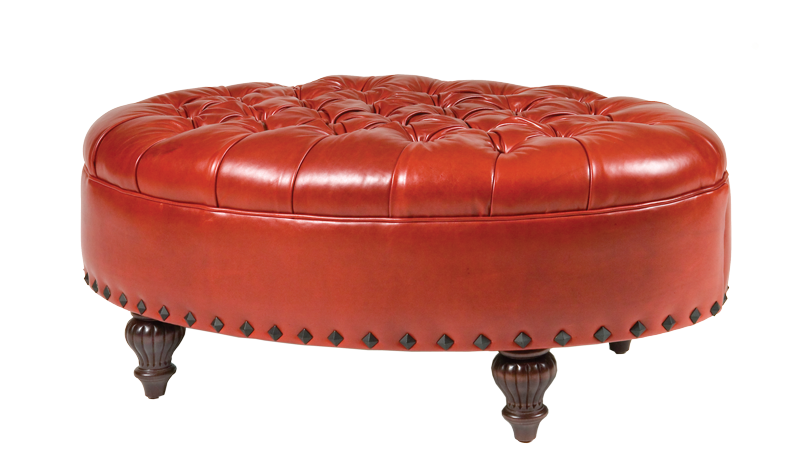 Oval Tufted Leather Ottoman